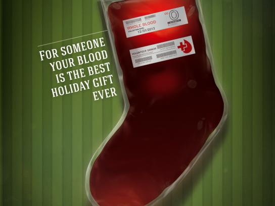 Red Cross Print Ad -  Christmas stocking