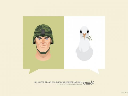 Claro Print Ad -  Soldier&Pigeon