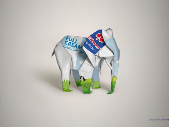 Clover Long Life Milk Print Ad - Elephant