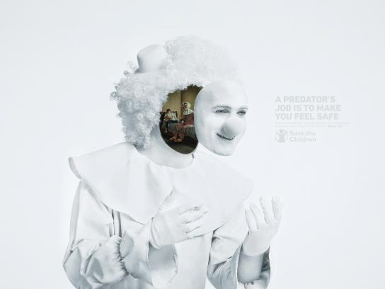 Save the Children Print Ad - Clown