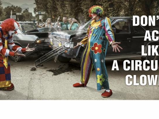 Centras Insurance Print Ad -  Clowns and roads