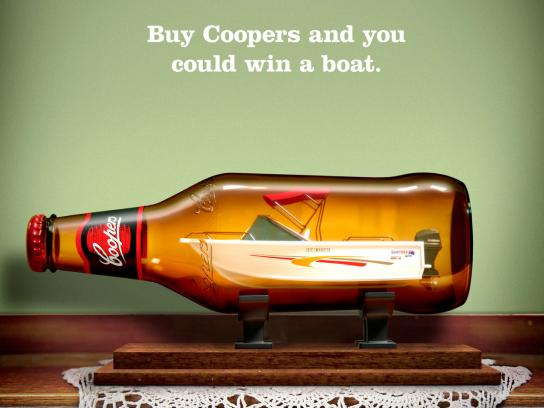 Coopers Print Ad -  Win a Coopers Boat