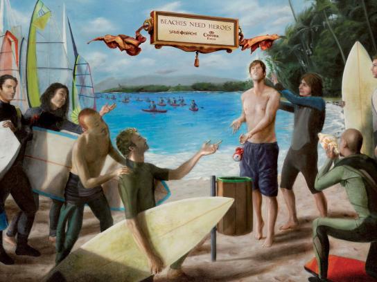 Corona Beer Print Ad -  Surfers