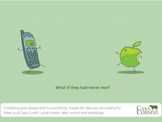 Casa Corsini Print Ad -  Mobile phone and apple