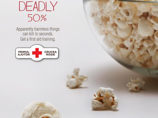 Red Cross Print Ad -  Killer popcorn
