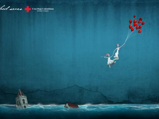 Red Cross Print Ad -  Balloons, Sea