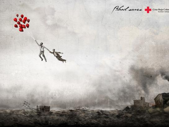 Red Cross Print Ad -  Balloons, Land