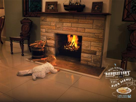 Cape Town Fish Market Print Ad -  Babysitter, Fireplace