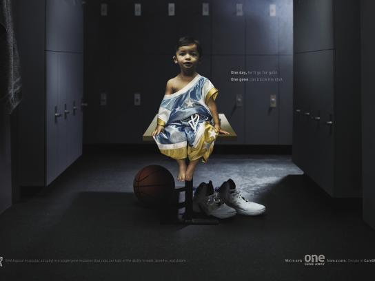 CureSMA Print Ad - One Gene Away - Basketball