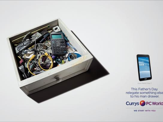Currys Print Ad -  Man drawer, 1