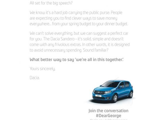 Dacia Print Ad -  Dear George