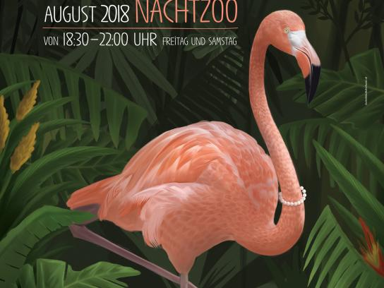 Salzburg Zoo Print Ad - Night Zoo - Flamingo