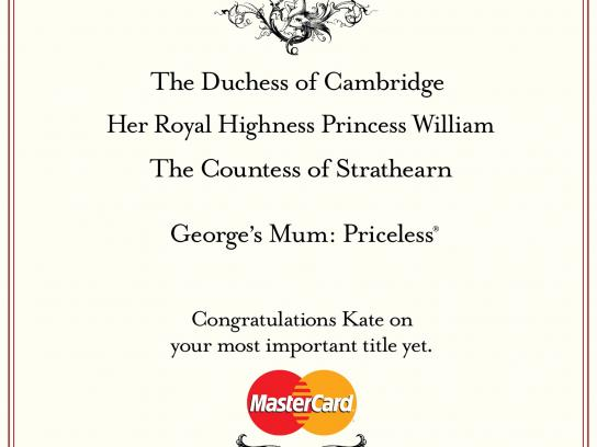 MasterCard Print Ad -  Royal Family