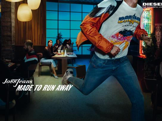 Diesel Print Ad - JoggJeans - Made To Run Away, Male