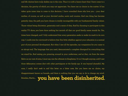 Daniel Gagnon Print Ad -  Speed Reading - Disinheritance