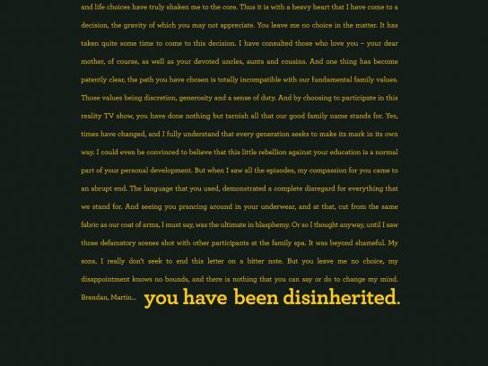 Daniel Gagnon Print Ad -  Speed Reading - Disinheritance