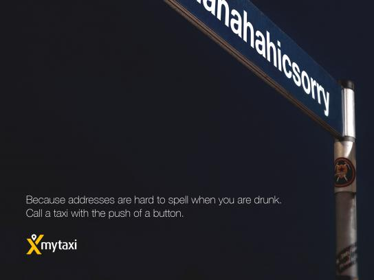 Mytaxi Print Ad - Drunk Addresses, 1