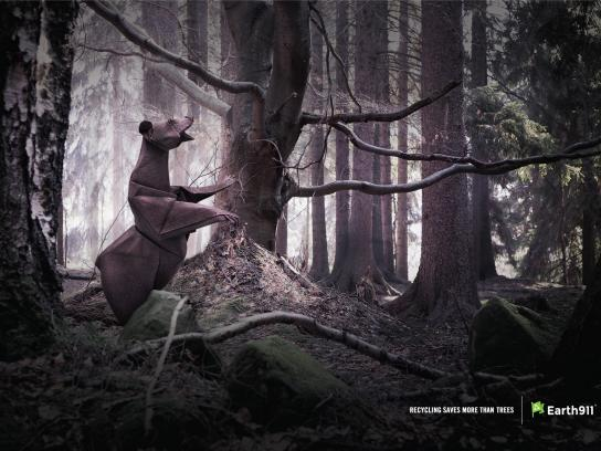 Earth 911 Print Ad -  Recycling saves more than trees, Bear