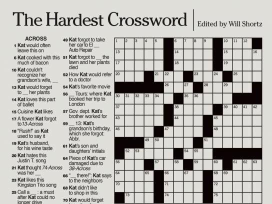 Alzheimer's Foundation Print Ad - The Hardest Crossword - Katherine's Crossword