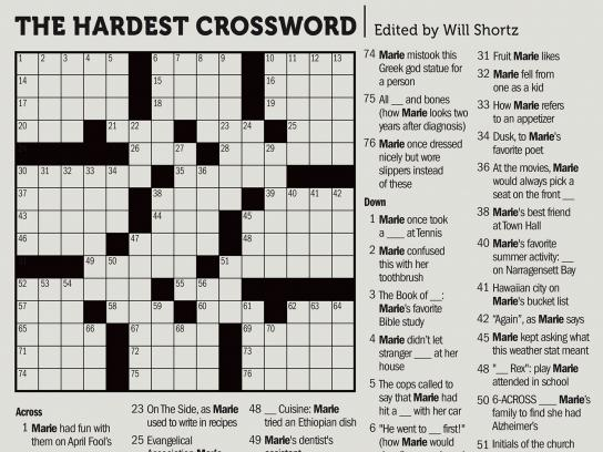 Alzheimer's Foundation Print Ad - The Hardest Crossword - Marie's Crossword
