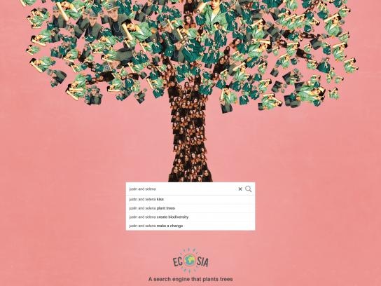 Ecosia Print Ad - Every Search Counts - Justin and Selena