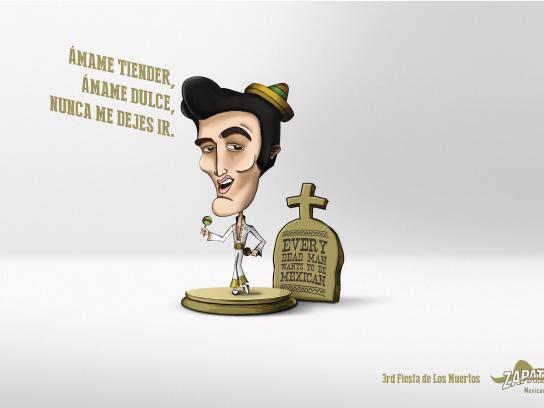 Zapata Bar Print Ad -  Fiesta de Los Muertos, Elvis Presley
