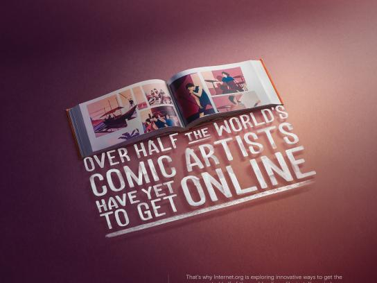 Facebook Print Ad - internet.org - Comic artists