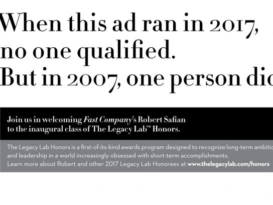 The Legacy Lab Print Ad - Visionaries Wanted - Fast Company