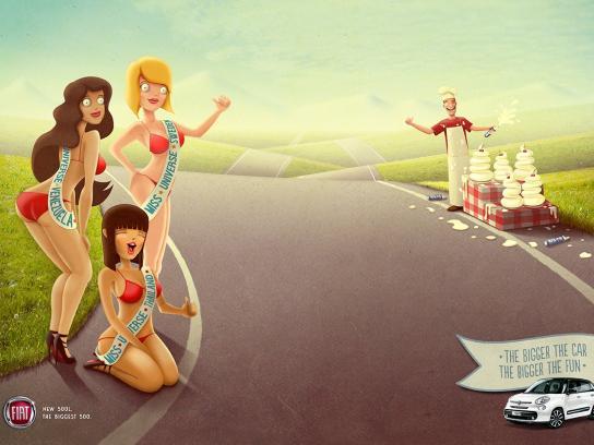 Fiat Print Ad -  Miss Universe&Cream