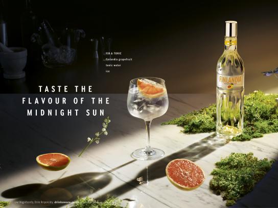 Finlandia Vodka Print Ad - Fin & Tonic