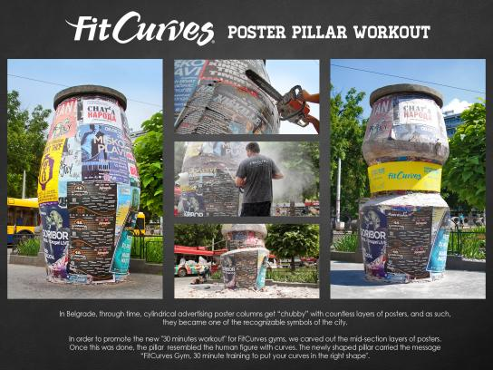 FitCurves Outdoor Ad -  Poster Pillar Workout