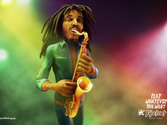 Foxtrot Print Ad -  Bob Marley Sax