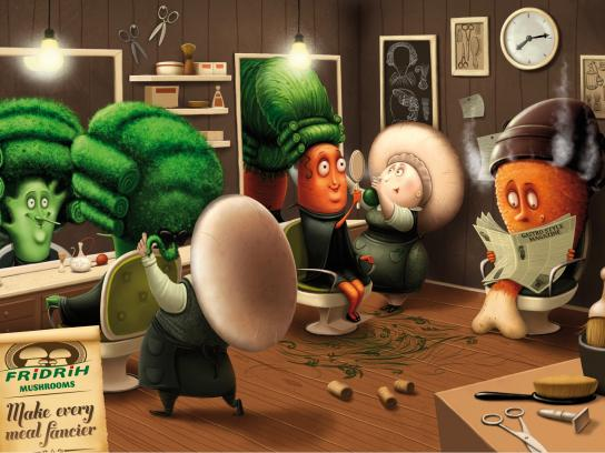Fridrih Mushrooms Print Ad -  Make every meal fancier, Hairdresser