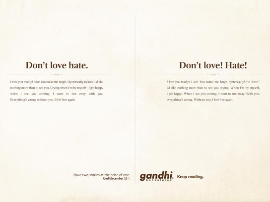 Gandhi Bookstores Print Ad -  Love