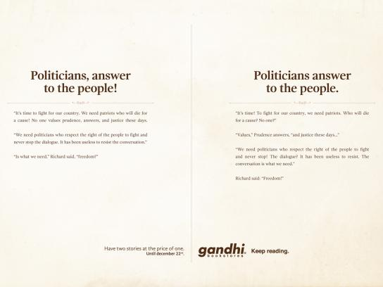 Gandhi Bookstores Print Ad -  Politicians