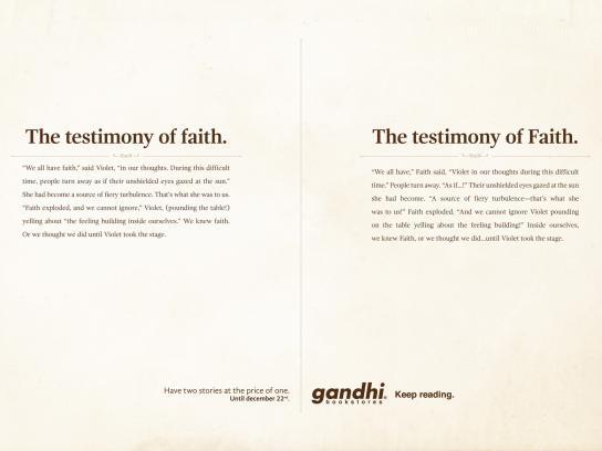 Gandhi Bookstores Print Ad -  Testimony