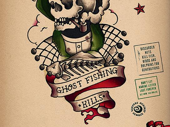 Surfers Against Sewage Print Ad -  Ghost fishing