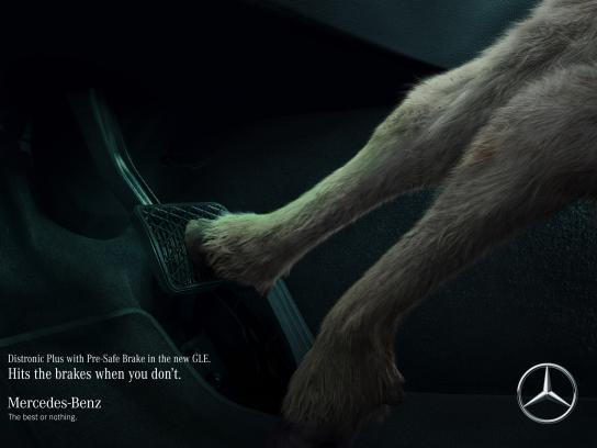 Mercedes Print Ad - Goat saves goat