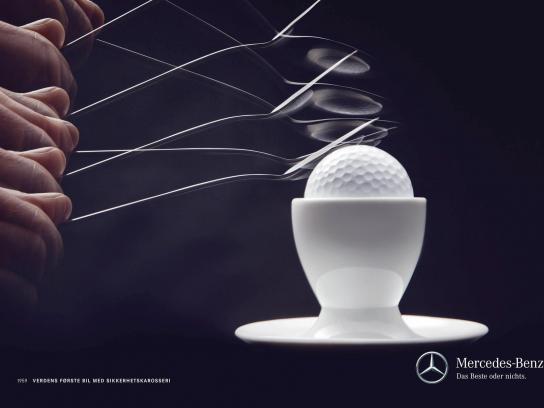 Mercedes Print Ad -  Golfball