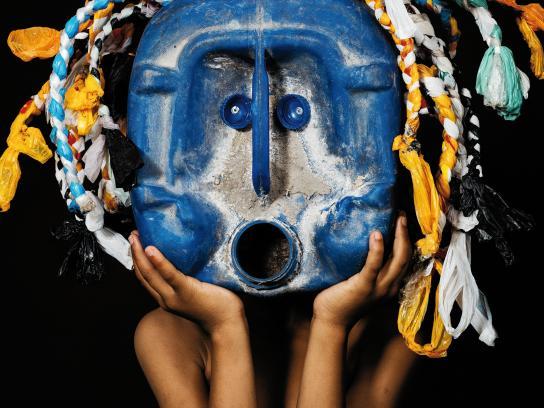 Greenpeace Africa Print Ad - African Trash Masks, Blue