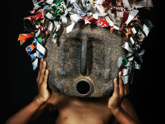 Greenpeace Africa Print Ad - African Trash Masks, Grey