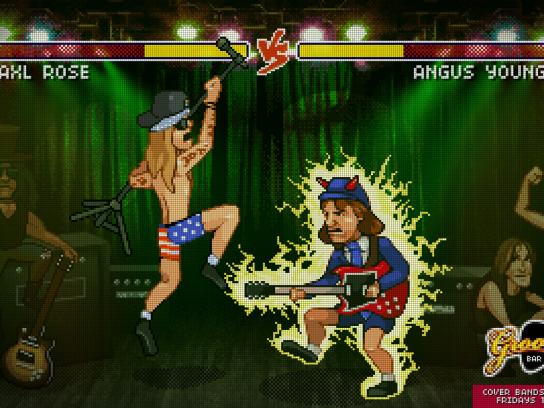 Groove Bar Print Ad -  Guns N Roses vs AC/DC