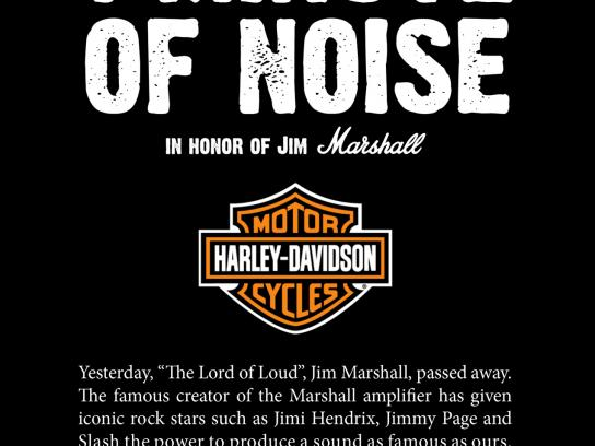 Harley-Davidson Print Ad -  One Minute of Noise