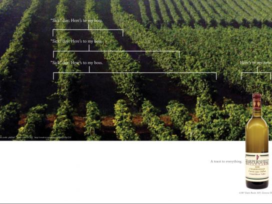 Harpersfield Winery Print Ad -  Sick day