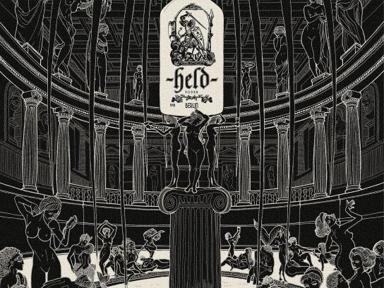 Held Vodka Print Ad -  Greek temple