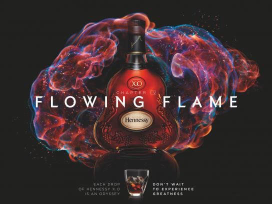 Hennessy Print Ad -  Flowing flame
