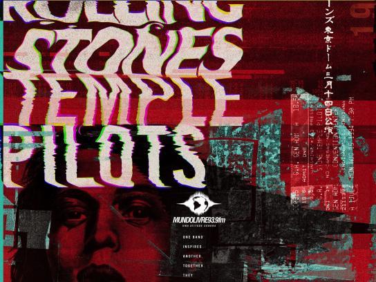 Mundo Livre FM Print Ad - Rolling Stones Temple Pilots