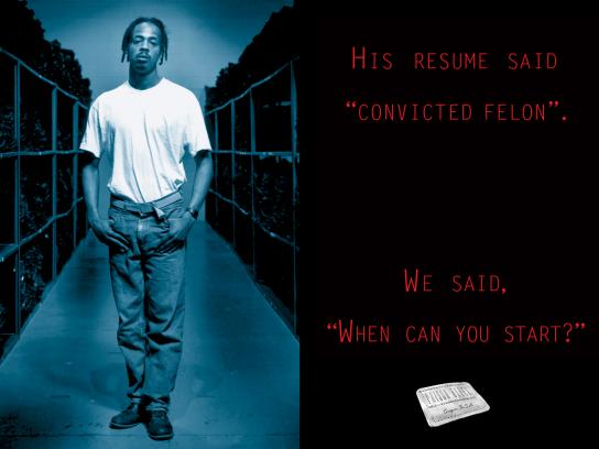 Prison Blues Print Ad - His Resume