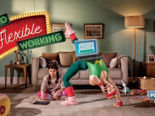 Powwownow Print Ad -  Here's to flexible working, 2