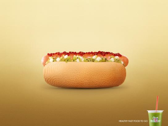 List To Go Print Ad -  Hot dog